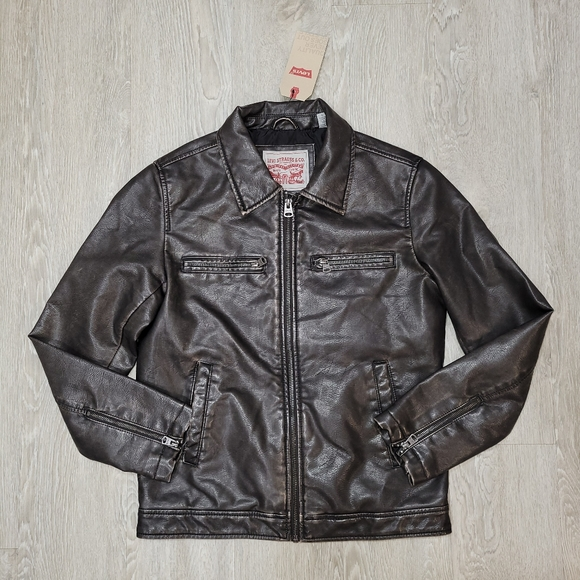 Levi's Faux Leather Laydown Collar Racer Jacket Size Small dark brown new